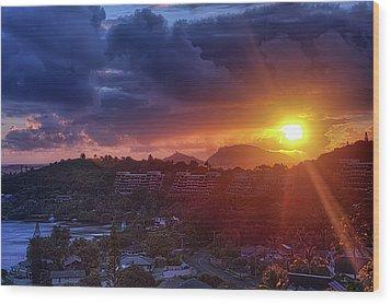 Kaneohe Sunrise Wood Print by Dan McManus