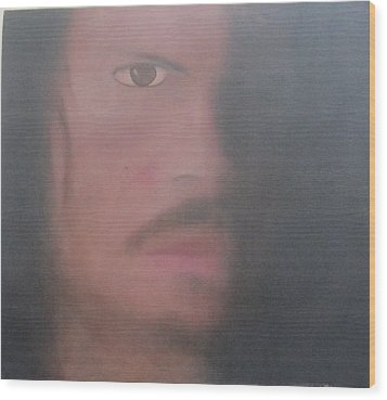 Wood Print featuring the painting Kirk Hammett by Patricia Cleasby