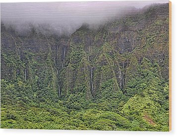 Ko'olau Waterfalls Wood Print by Dan McManus
