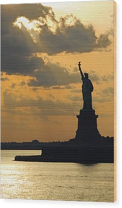 Lady Liberty Wood Print by Michael Flood