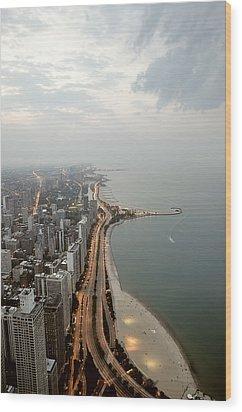 Lake Michigan And Chicago Skyline. Wood Print by Ixefra