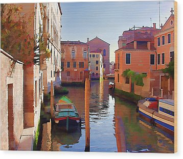 Late Afternoon In Venice Wood Print by Elaine Plesser