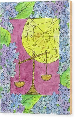 Wood Print featuring the painting Libra by Cathie Richardson
