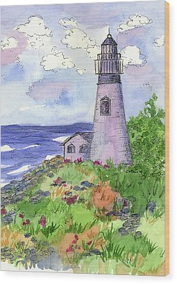 Wood Print featuring the painting Lighthouse In Summer  by Cathie Richardson