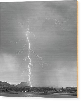 Lightning Strike Colorado Rocky Mountain Foothills Bw Wood Print by James BO  Insogna