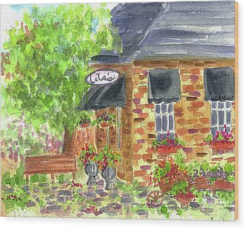 Wood Print featuring the painting Lila's Cafe by Cathie Richardson