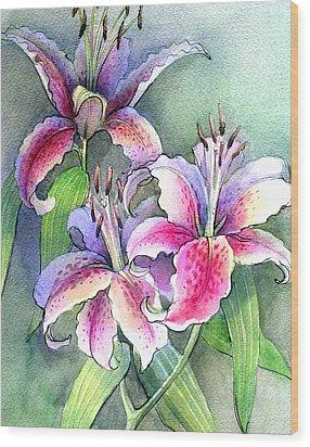 Lilies Wood Print by Khromykh Natalia
