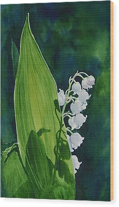 Wood Print featuring the painting Lily Of The Valley by Margit Sampogna