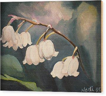 Lily Whites Wood Print by Renate Nadi Wesley