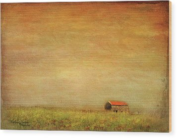 Wood Print featuring the photograph Little Barn On The Hill by Wallaroo Images