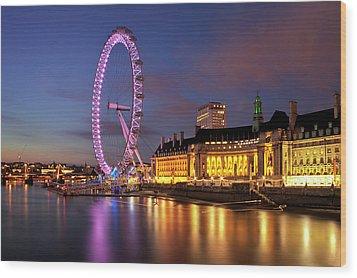 London Eye Wood Print by Stuart Stevenson photography