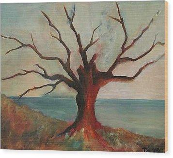 Lone Oak - Gulf Coast Wood Print by Deborah Allison