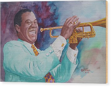 Louis Armstrong Wood Print by Charles Hetenyi