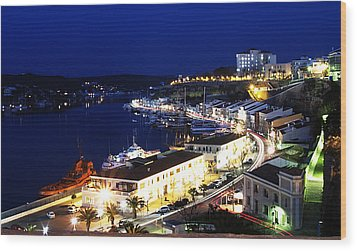 Wood Print featuring the photograph Mahon Harbour At Night by Pedro Cardona
