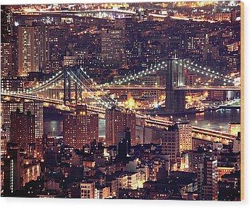 Manhattan And Brooklyn Bridges Wood Print by Rob Kroenert