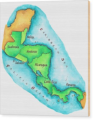 Map Of Central America Wood Print by Jennifer Thermes