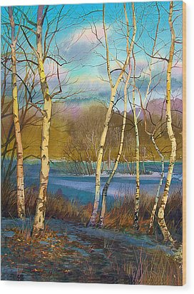 March. Birches Wood Print