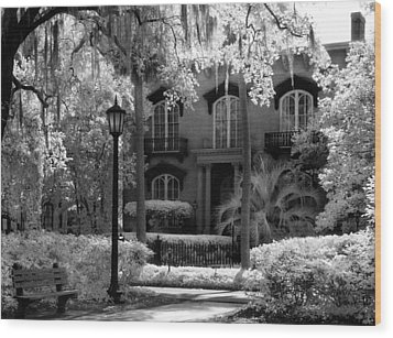 Mercer Williams House Wood Print by Jeff Holbrook