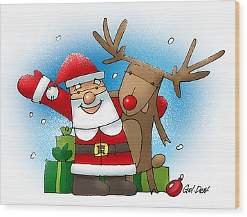 Merry Christmas Wood Print by Denys Golemenkov