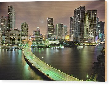 Miami Skyline At Night Wood Print by Steve Whiston - Fallen Log Photography