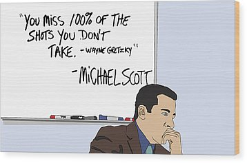 Michael Scott From The Office Wood Print by Tomas Raul Calvo Sanchez