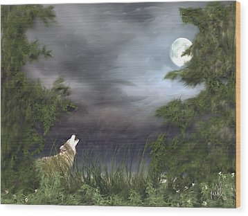 Midnight Blue Wood Print by Barb Kirpluk