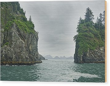 Monoliths In Aialik Cape On A Foggy Wood Print by James Forte