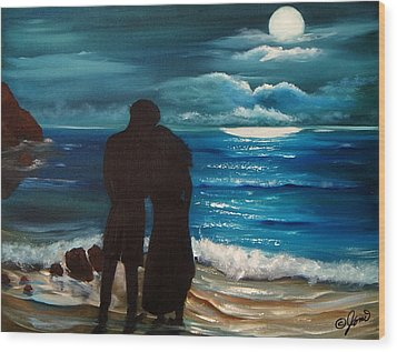Moonlight Romance Wood Print
