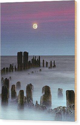 Moonrise Wood Print by James Jordan Photography