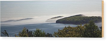 Wood Print featuring the photograph Morning Mist In Acadia by Greg DeBeck