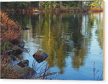 Morning Reflections On Chad Lake Wood Print
