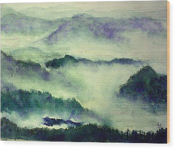 Wood Print featuring the painting Mountain Oriental Style by Yoshiko Mishina