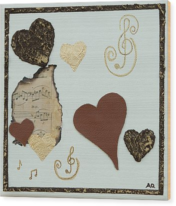 Musical Love - Tan Hearts Wood Print by Alison Quine