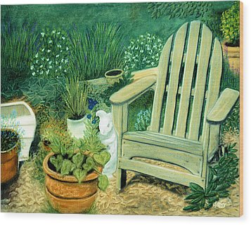 My Garden Chair Wood Print by Jan Amiss