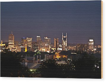 Nashville Cityscape 1 Wood Print by Douglas Barnett