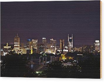 Nashville Cityscape 4 Wood Print by Douglas Barnett