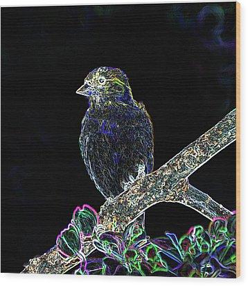 Neon Goldfinch Wood Print by Betty LaRue