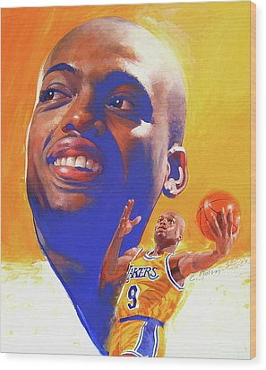 Wood Print featuring the painting Nick Van Exel by Cliff Spohn