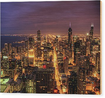 Night Cityscape Of Chicago Wood Print by Jacob D. Moore
