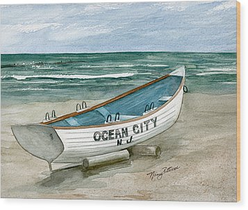 Ocean City Lifeguard Boat Wood Print