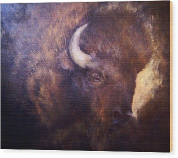 Old Bison Wood Print by Joann Shular