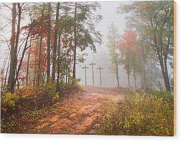 One Way Wood Print by Debra and Dave Vanderlaan