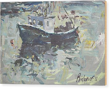 Wood Print featuring the painting Original Lobster Boat Painting by Robert Joyner