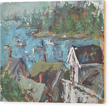 Original Modern Abstract Maine Landscape Painting Wood Print