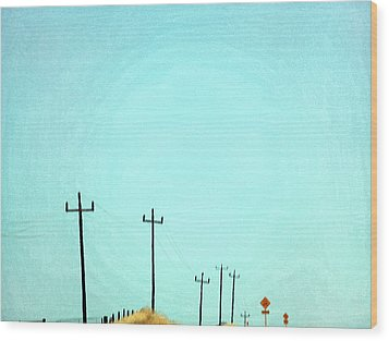 Painting Of Telegraph Poles Wood Print by Virginia Star
