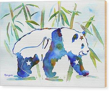 Panda Bear With Stars In Blue Wood Print by Jo Lynch
