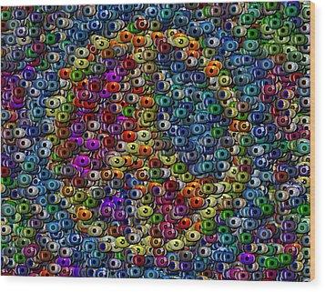 Peace Sign Eyeball Mosaic Wood Print by Paul Van Scott
