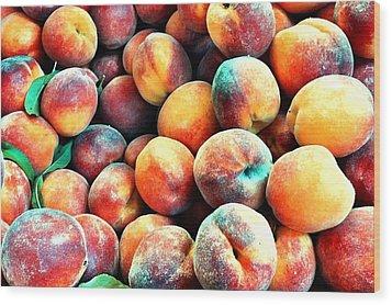 Peaches Wood Print by Carlos Avila