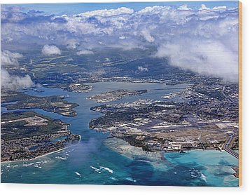 Pearl Harbor Aerial View Wood Print by Dan McManus