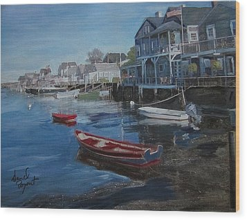 Peaseful Harbor Wood Print by David Poyant